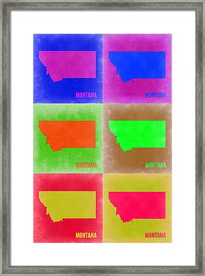 Montana Pop Art Map 2 Framed Print by Naxart Studio