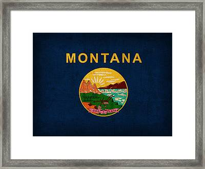 Montana State Flag Art On Worn Canvas Framed Print by Design Turnpike