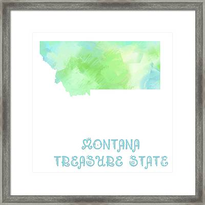 Montana - Treasure State - Map - State Phrase - Geology Framed Print by Andee Design