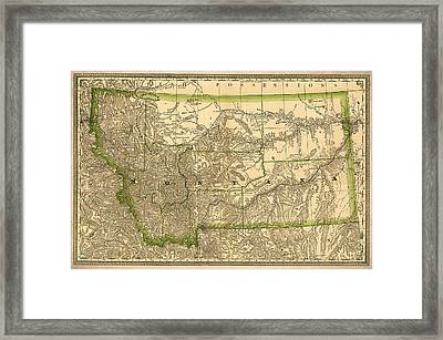 Montana Vintage Antique Map Framed Print by World Art Prints And Designs