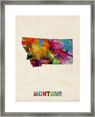 Montana Watercolor Map Framed Print by Michael Tompsett