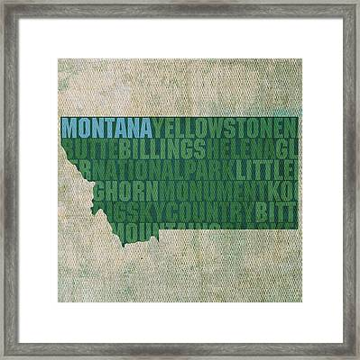 Montana Word Art State Map On Canvas Framed Print by Design Turnpike