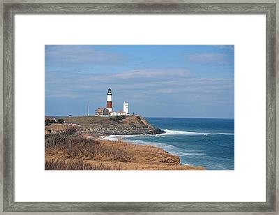 Framed Print featuring the photograph Montauk Lighthouse/camp Hero by Karen Silvestri