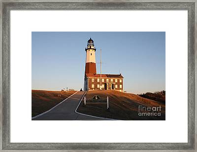 Framed Print featuring the photograph Montauk Lighthouse Entrance by John Telfer