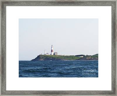 Montauk Lighthouse From The Atlantic Ocean Framed Print by John Telfer