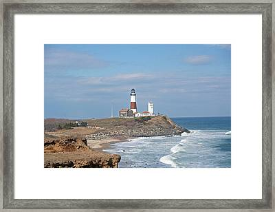 Framed Print featuring the photograph Montauk Lighthouse View From Camp Hero by Karen Silvestri