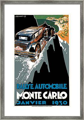 Monte Carlo - Vintage Poster Framed Print by World Art Prints And Designs
