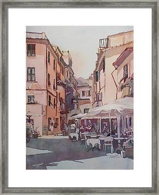 Monterosso Cafe Framed Print by Jenny Armitage