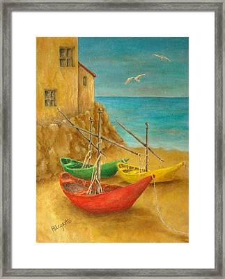 Monterosso On Riviera Di Levante Framed Print by Pamela Allegretto