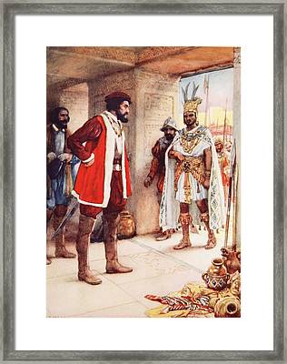 Montezuma A Hostage In Cortes Hands Framed Print by Arthur A. Dixon
