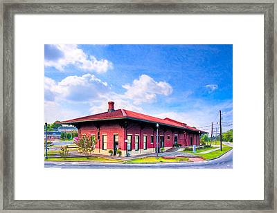 Montezuma Central Of Georgia Depot - Vintage Railroad Framed Print by Mark E Tisdale