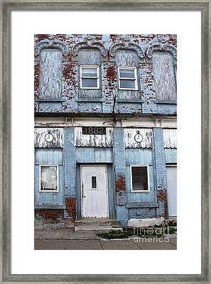 Montezuma Iowa - Blue Brick Building Framed Print by Gregory Dyer