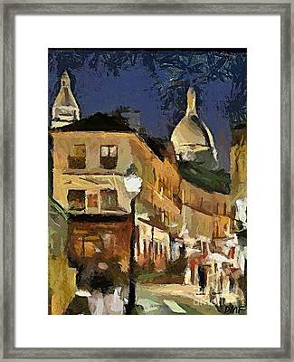 Montmartre At Night Framed Print by Dragica  Micki Fortuna