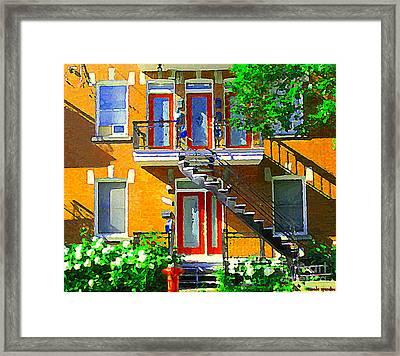 Montreal Art Seeing Red Verdun Wooden Doors And Fire Hydrant Triplex City Scene Carole Spandau Framed Print by Carole Spandau