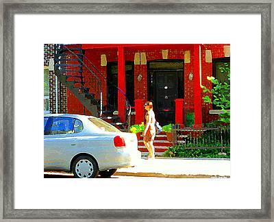 Montreal Art Summer Stroll On A Sunny Morning Colorful Street Verdun City Scene Carole Spandau Framed Print by Carole Spandau