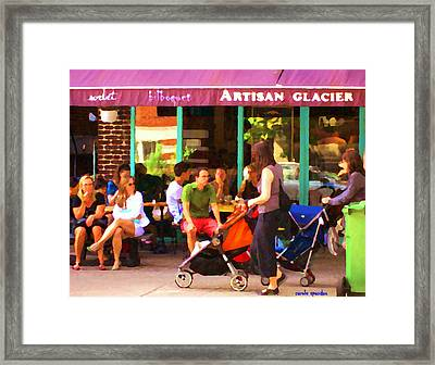 Montreal Art Work Bilboquet Cafe Scene Moms And Baby Carriages  In  Outremont By Carole Spandau Framed Print by Carole Spandau