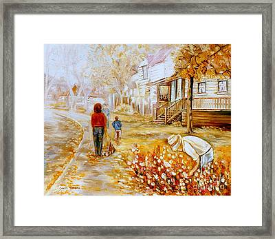 Montreal Artist Paints Montreal City And Street Scenes Framed Print by Carole Spandau
