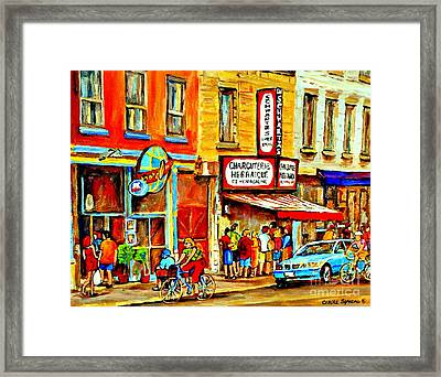 Montreal Bike Path Reserved Lane Cyclists Drive By Schwartzs Deli  Line-up Montreal Paintings Framed Print by Carole Spandau