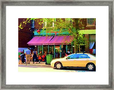 Montreal Cafe Scenes Beautiful Bilboquet On Bernard Creme Glacee Summer City Scene Carole Spandau  Framed Print by Carole Spandau