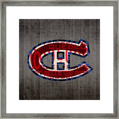 Montreal Canadiens Hockey Team Retro Logo Vintage Recycled Quebec Canada License Plate Art Framed Print
