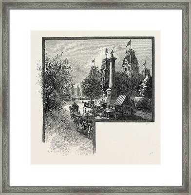 Montreal, City Hall And Nelsons Monument Framed Print