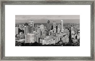 Montreal City Skyline In Black And White Framed Print by Pierre Leclerc Photography