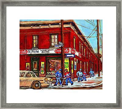 Montreal Depanneur Epicerie Boucherie Coca Cola South West Montreal Winter Pantings Hockey Art  Framed Print by Carole Spandau
