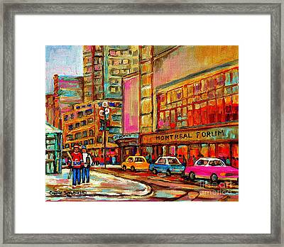 Montreal Forum  Winter Scene Paintings Snowy Day Downtown Strolling Atwater C Spandau  Framed Print by Carole Spandau