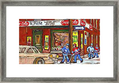 Montreal Hockey Paintings At The Corner Depanneur - Piche's Grocery Goosevillage Psc Griffintown  Framed Print by Carole Spandau