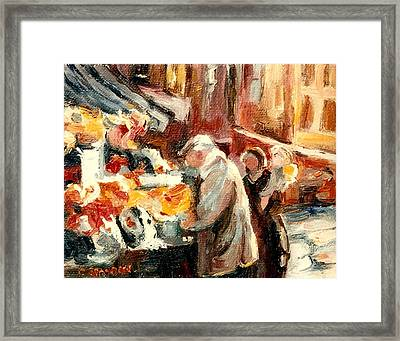Montreal Market Scene Marche Atwater Framed Print by Carole Spandau