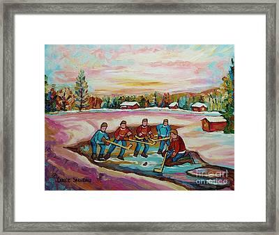 Montreal Memories Pond Hockey Countryside Winter Art In Laurentians Carole Spandau Paintings Framed Print
