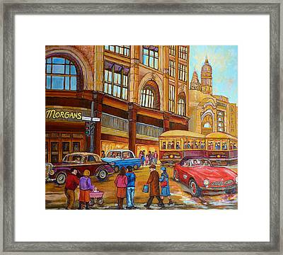 Montreal Memories-streetcars-morgan's Department Store At St.catherine And Union Framed Print by Carole Spandau