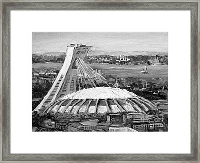 Montreal Olympic Stadium And Olympic Park-home To Biodome And Velodrome-montreal In Black And White Framed Print by Carole Spandau