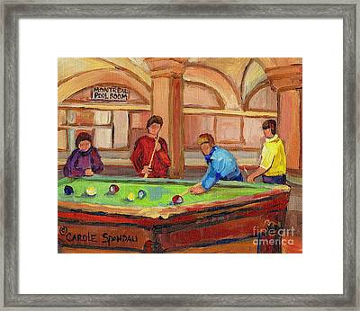 Montreal Pool Room Framed Print by Carole Spandau