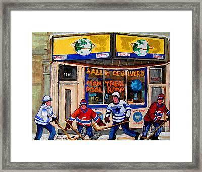 Montreal Pool Room City Scene With Hockey Framed Print by Carole Spandau