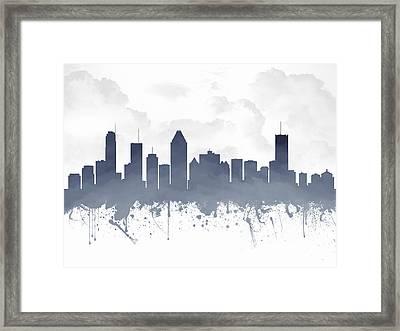 Montreal Quebec Skyline - Blue 03 Framed Print by Aged Pixel