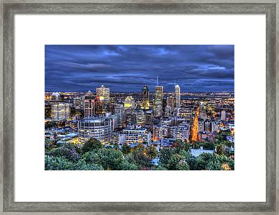 Framed Print featuring the photograph Montreal Skyline At Dusk by Shawn Everhart
