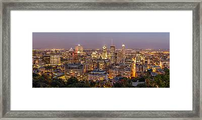 Montreal Skyline At Night Framed Print