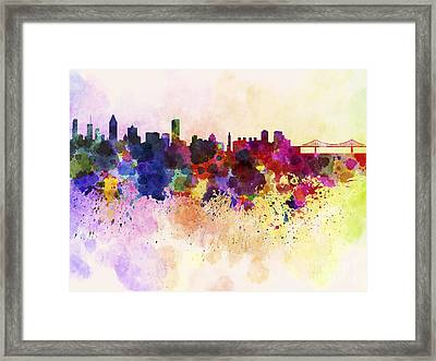 Montreal Skyline In Watercolor Background Framed Print by Pablo Romero