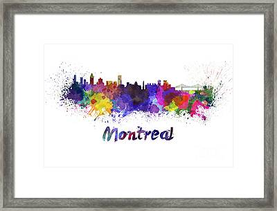 Montreal Skyline In Watercolor Framed Print