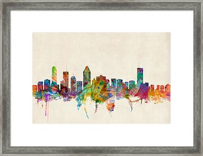 Montreal Skyline Framed Print by Michael Tompsett