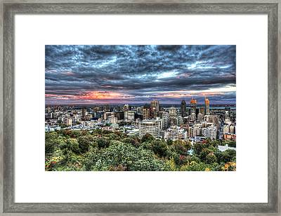 Montreal Skyline Sunset From Mount Royal Framed Print