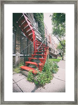 Montreal Spiral Stairs Framed Print by Tanya Harrison