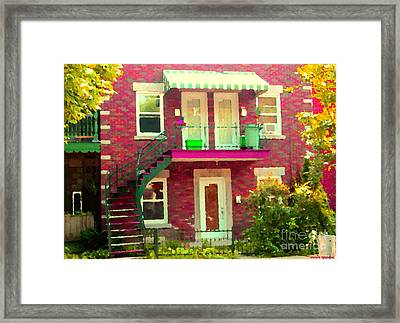 Montreal Stairs Painted Brick House Winding Staircase And Summer Awning City Scenes Carole Spandau Framed Print by Carole Spandau