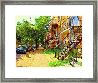 Montreal Stairs Winding Staircases And Sunny Tree Lined Sidewalks Verdun Scenes Carole Spandau  Framed Print by Carole Spandau