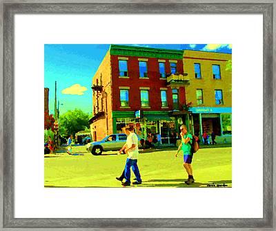 Montreal Street Scene Strolling St Viateur Across The Bagel Shop And Davids Tea Carole Spandau  Framed Print