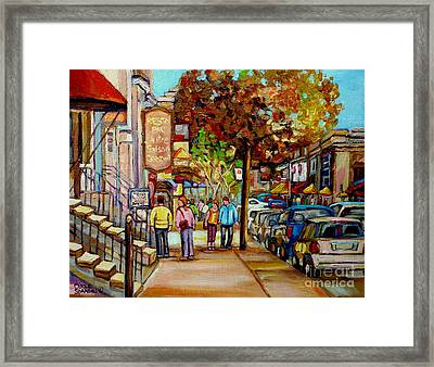 Montreal Streetscenes By Cityscene Artist Carole Spandau Over 500 Montreal Canvas Prints To Choose  Framed Print by Carole Spandau