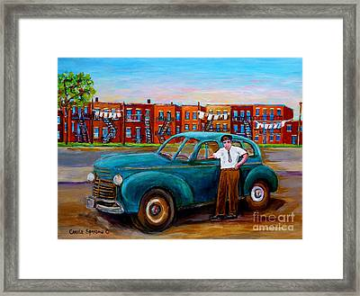 Montreal Taxi Driver 1940 Cab Vintage Car Montreal Memories Row Houses City Scenes Carole Spandau Framed Print by Carole Spandau