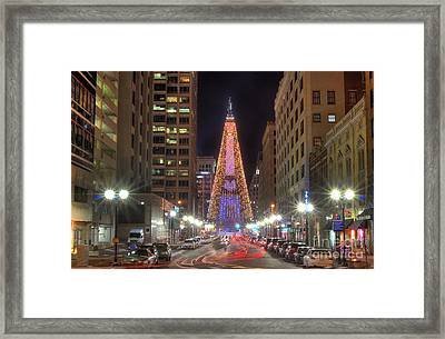 Monument Circle Christmas Tree Framed Print