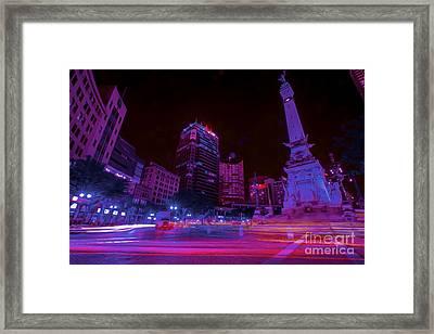 Monument Circle Indianapolis Light Streaks Night Framed Print by David Haskett